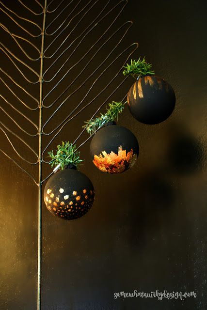 Black painted ornaments with leaf and metal powder. Somewhat Quirky: Handcrafted Christmas Ornaments - 17 Ways