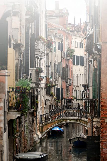 view from Ponte del Ravano in the Santa Croce district of Venice, Italy