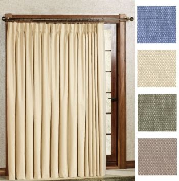 Crosby Pinch Pleat Thermal Room Darkening Patio Panel In Slate Blue,  Natural, Sage Green