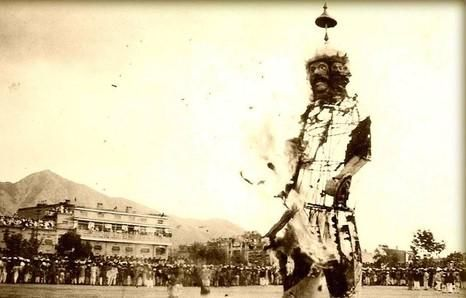 Burning an effigy of Ravana on Dussehra, 1930 at Balochistan. #IndianHistory #Hinduism