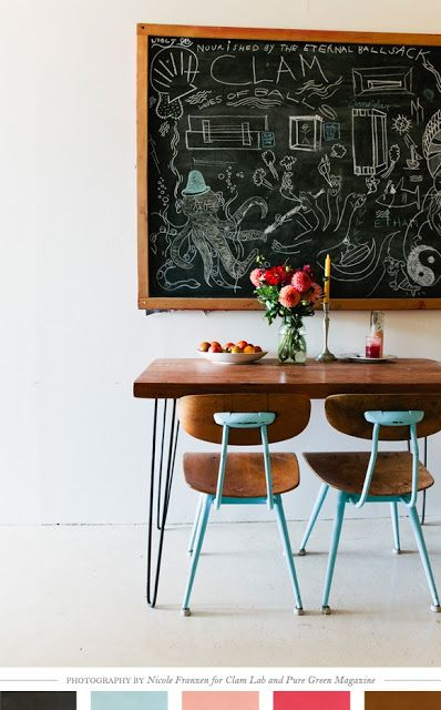 hairpin leg dining table, vintage school chairs in robin's egg blue, jar of dahlias, chalkboard featuring hairy ballsack?