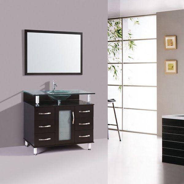 32 Inch Modern Design Furniture Bathroom Vanities Cabinet With Mirror U0026  Faucet