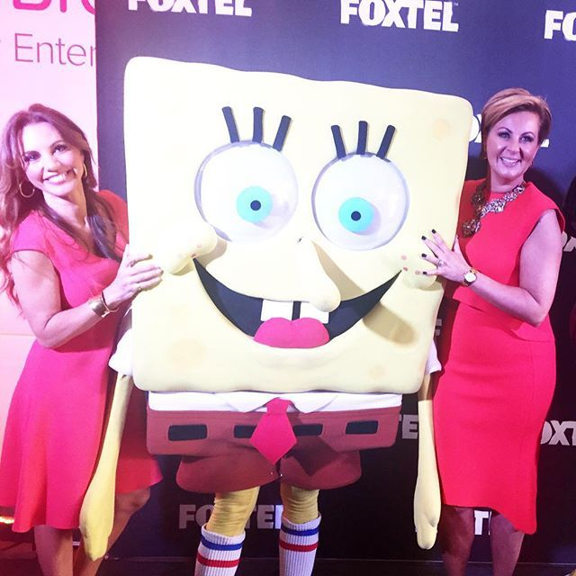 Another fun photo from today's @foxtel 20 th birthday celebrations ! Have always loved sponge bob and of course the gorgeous @susie_mclean ! #happybirthday #foxtel #20years #funday @rhomelbourne @arenatv @bravotv @thebiggroupinstagram @thedesigndepotinstagram