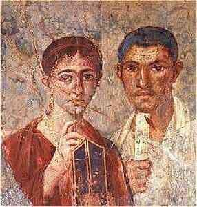 El panadero y su esposa  s. I d.C. Fresco en casa de Neo Pompeya, Italia