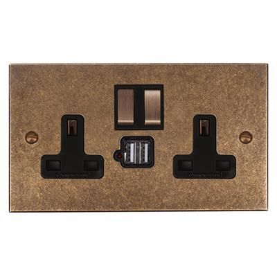 13amp 2 Gang Dual USB Port Plug Socket, Brass Switch, Bevelled Plate