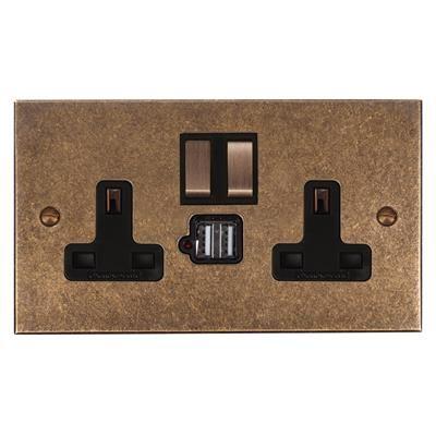 13amp 2 Gang Dual USB Port Plug Socket, Brass Switch, Bevelled Plate