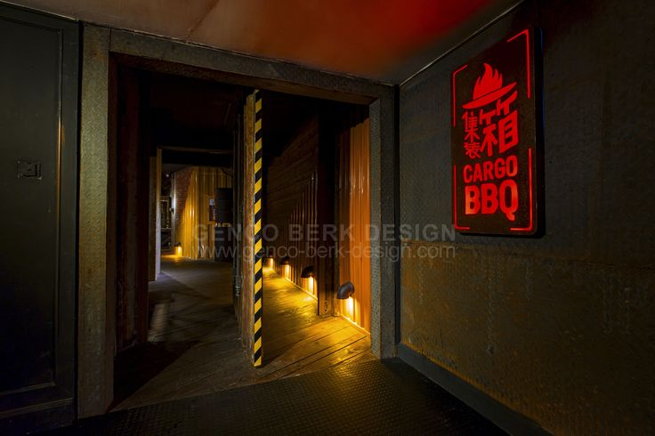 CARGO Korean BBQ Main Entrance Door | by Genco Berk Design #Warehouse #Cargo #Container #Shanghai #Industrial #Genco #Berk #Restaurant
