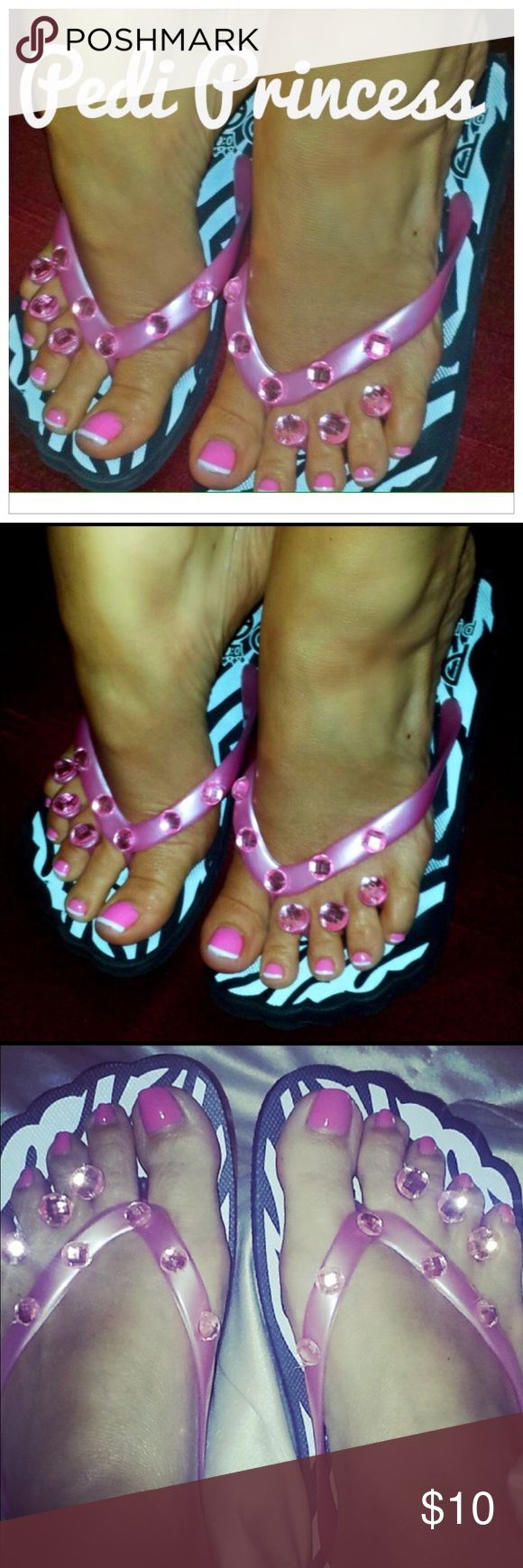 Zebra Print Pedicure Flip Flop Sandals No more paper between your toes and flimsy flip flops! The Pedi Princess is the perfect pedicure flip flop with it's stoned toe separators attached. Cute and comfy. Just polish and go!   Zebra Black & White w/ Pink Strap pedicure flip flops. All the pedicure flip flops are brand new, never worn and in their original packaging. Shoes Sandals