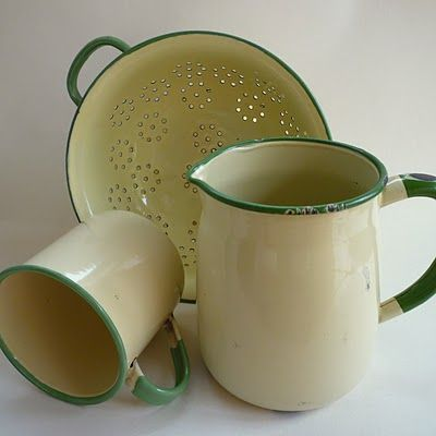 vintage green enamelware. ok maybe not the colander, but the cup and pitcher for desk utensils!