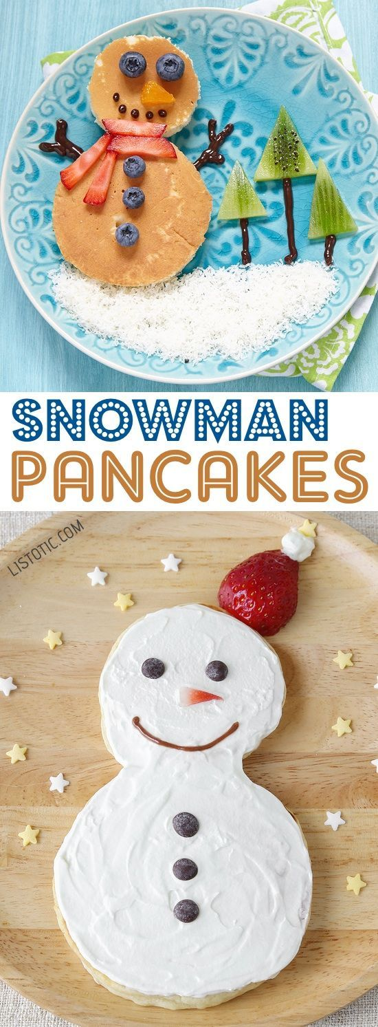Easy Snowman Pancakes For Kids On Christmas Morning | Over 15 fun, cute and easy Christmas breakfast ideas for kids! These creative recipes are so simple and easy to make, but are sure to make Christmas morning extra special. Everything from pancakes to toast and oatmeal! Listotic.com