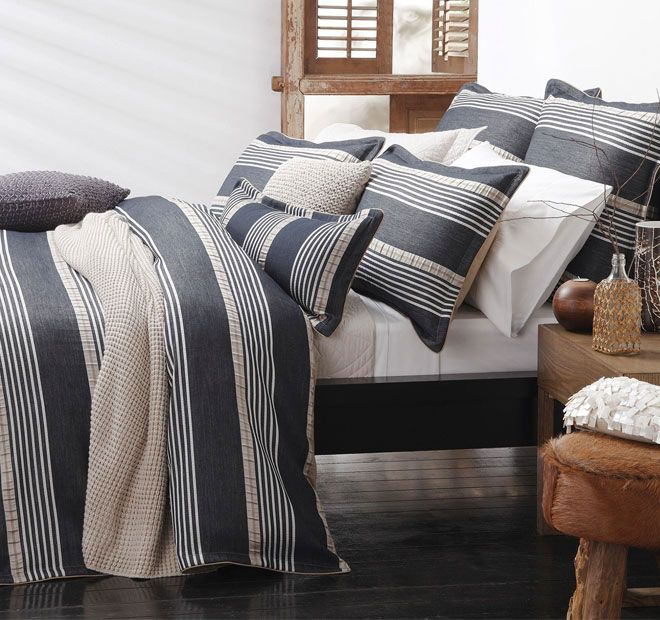Private Collection Bennett Quilt Cover Set Range Navy Manchester warehouse