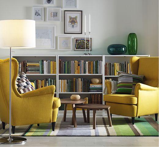 IKEA BILLY bokhylla i vitt.