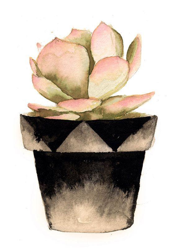 Succulent Watercolor Print