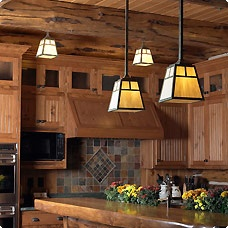 Mission style pendant lights for the kitchen-- also love the tile backsplash.