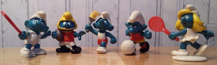Smurfs Lot Sports Smurf Figurines Football Tennis Soccer Olympic Runner Schleich #Schleich