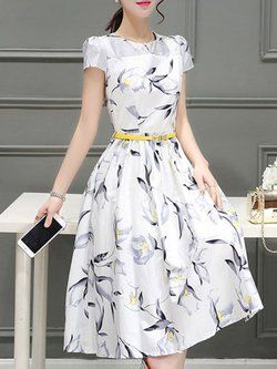 363d90a51b9 Crew Neck Dress A-line Going out Short Sleeve Elegant Bow Floral Dress