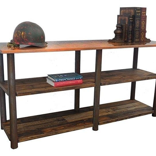 rustic entry or sofa table with rusted metal top and legs with reclaimed wood shelving