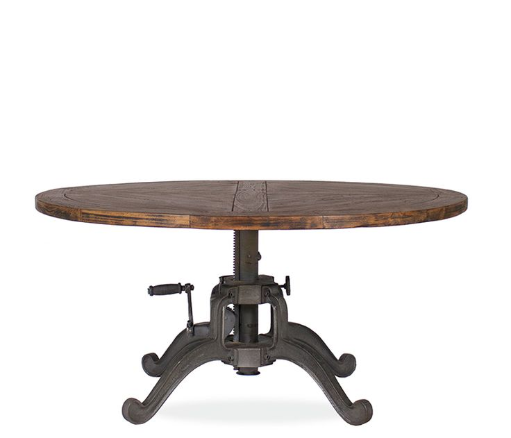 Coleman Crank Coffee Table - The Coleman is striking with an x-plank detail on the solid reclaimed teak wood top. Hand-crafted by Indian artisans and features a metal crank base to