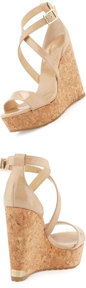 Jimmy Choo Portia Crisscross Platform Wedge Sandal, Nude