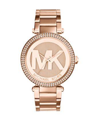 Michael Kors Mid-Size Rose Golden Stainless Steel Parker Chronograph Glitz Watch.