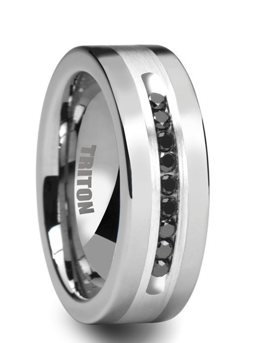 CALVIN Flat Tungsten Ring with Silver Inlay and Channel Set Black Diamonds by Triton Rings - 8mm by Larson Jewelers // More from Larson Jewelers: http://www.theknot.com/gallery/wedding-rings/Larson Jewelers