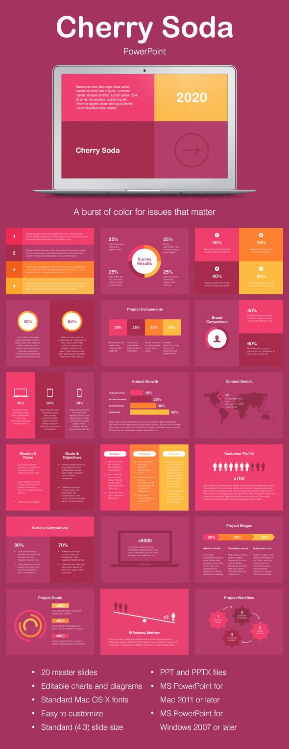 Cherry Soda PowerPoint Template #powerpoint #powerpointtemplate #presentation Download: http://graphicriver.net/item/cherry-soda-powerpoint-template/9692363?ref=ksioks