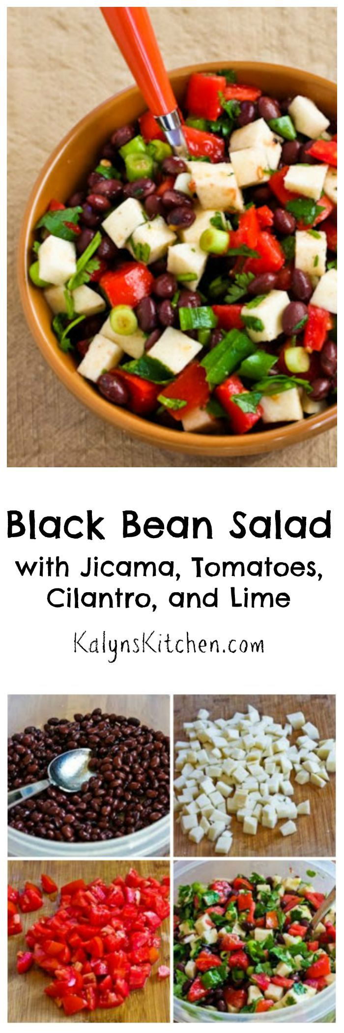 It's the ripe juicy summer tomatoes that make this Black Bean Salad with Jicama, Tomatoes, Cilantro, and Lime so perfect for summer parties, but truthfully I'd eat this salad any time of year if I can get good cherry tomatoes! If you're not familiar with jicama, it's a delicious low-carb vegetable often used in Mexican food that adds a delicious crunch. [from KalynsKitchen.com]