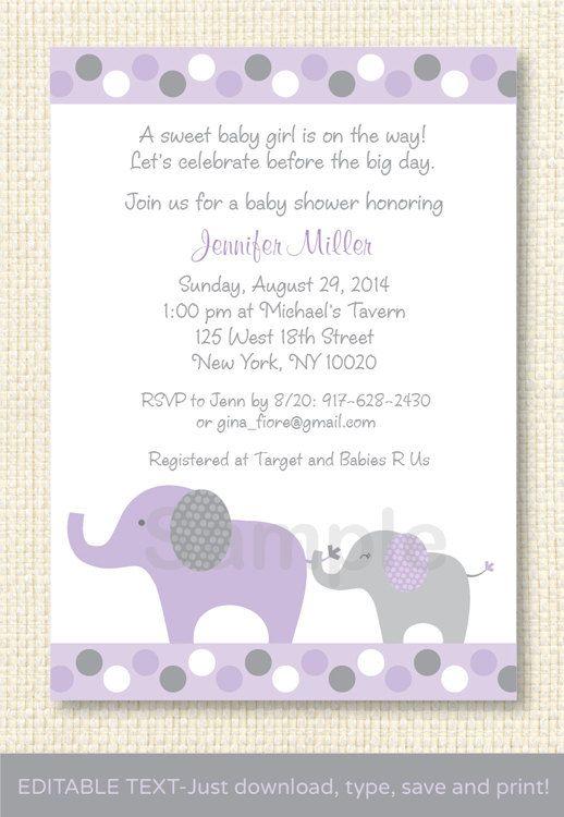 Lavender Baby Shower Invitations Part - 23: Lavender Elephant Baby Shower Invitation EDITABLE TEXT