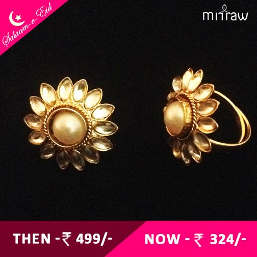 beautiful adjusatable pearl kundan style work toe ring shop now