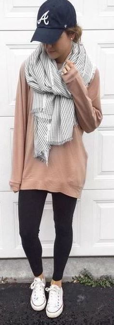 #Winter #Outfits / Gray Scarf + Beige Sweater