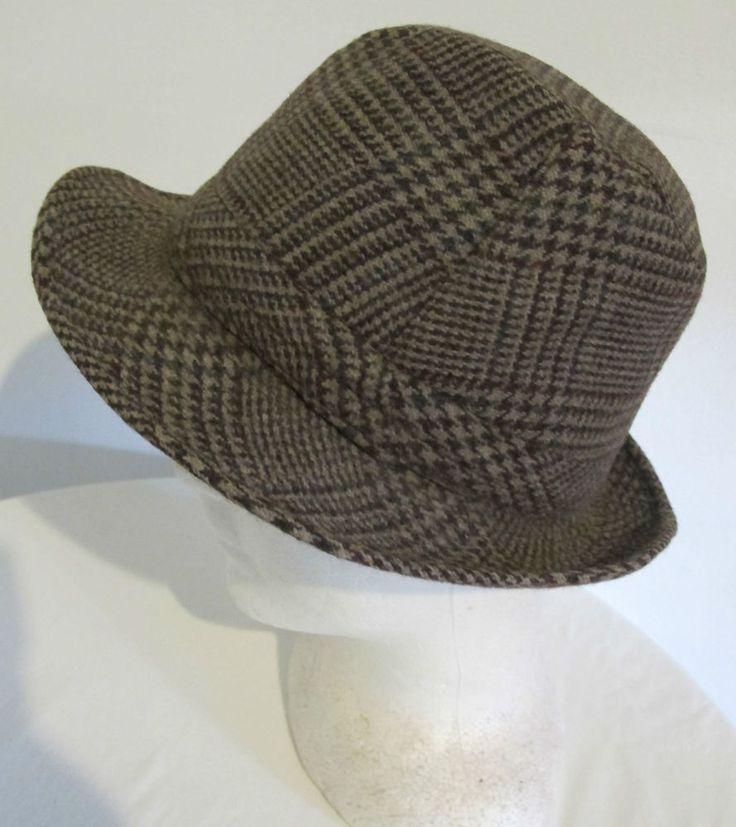 HAT 100% Wool check Trilby Fedora Wool Milana Cap Unisex Vintage Hipster retro