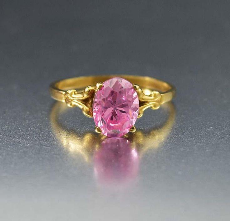 Vintage Pink Topaz Fabulous Estate Gold Ring