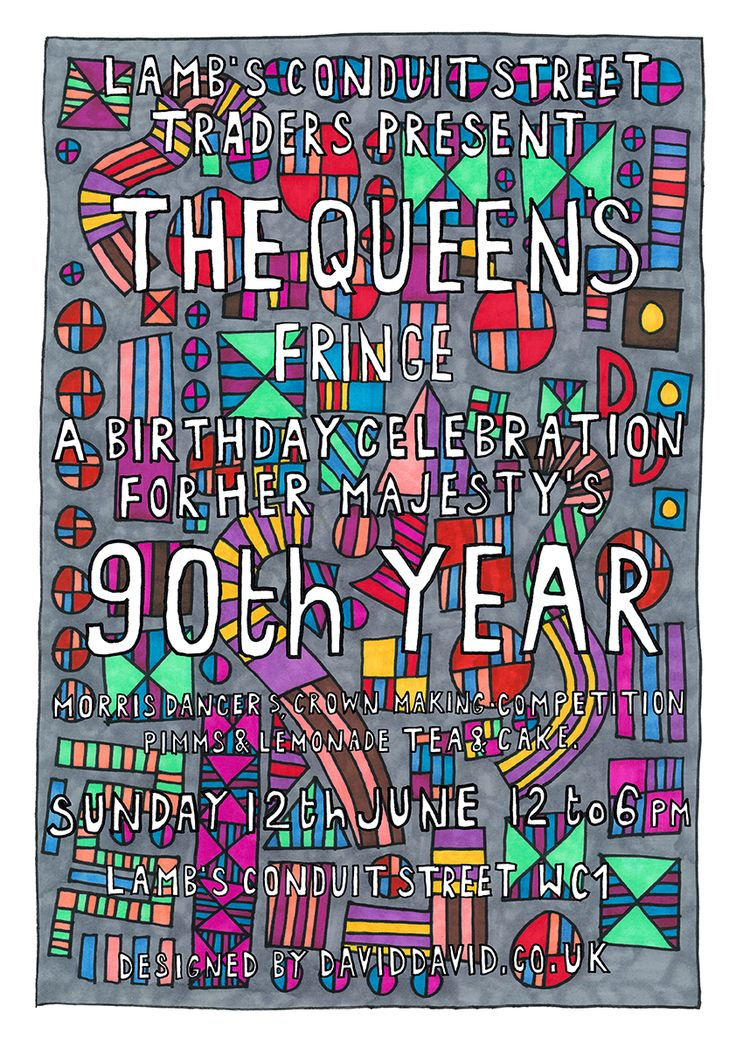 Hooray Lambs Conduit St party! Sunday 12th June 2016 to celebrate the summer and the Queens 90th Birthday, poster designed by us, David David! Come and hang out in my hood for a super fun day! Lambs...