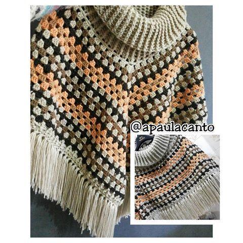 Poncho Crochê Uma peça, duas maneiras de usar!  #cantodopano  #novafriburgo  #crochetlove  #crochet #errejota  #frio #lã #croche #bohochic  #boho #vintage  #feitoamao