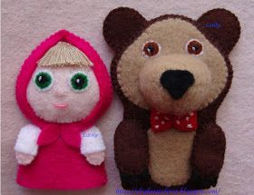 "* Wonders of felt *: Finger tale ""Masha and Misha"""