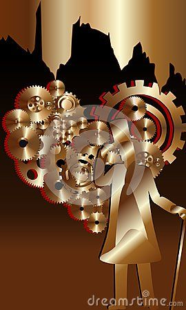 Heart shaped gears with red contour. Vector illustration with bronze and black background-.