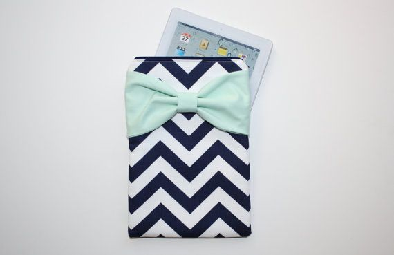 iPad Case - Android - Microsoft Tablet Sleeve - Navy and White Chevron Mint Green Bow - Padded on Etsy, $45.00