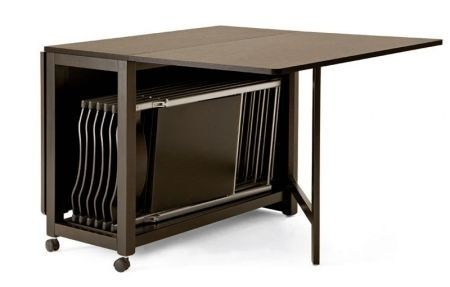 Tavolo salvaspazio in legno più sedie - Tavolo salvaspazio in legno più sedie