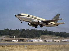 Boeing's first 737 jet. The inaugural flight of the model came in April 1967. It has gone on to become the best-selling passenger aircraft in aviation history.   Boeing ('Higher: 100 Years of Boeing')