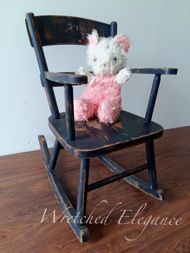 Rocking Chair. Vintage Wood Rocking Chair. Wooden Rocking Chair For  Children Or Photo Prop