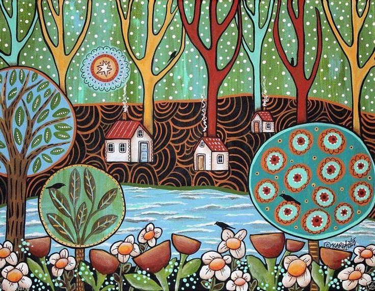 'Lakeside' acrylic painting by Karla Gerard US. 'У озера' картина Карлы Джерард США.  #иллюстрация #живопись #искусство #графика #акварель #холст #масло #пастель #арт #выставки #art #illustration #pencil #artsy #drawing #draw #watercolor #oil #pastel #sketchbook #graphic #exhibitions #contemporaryart #timetoart