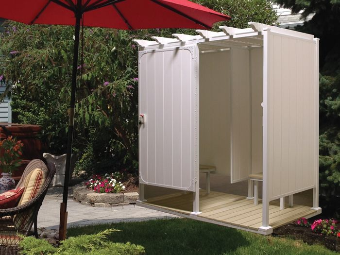 Exciting Shower Stall Kits For Bathroom Decoration Ideas: Cool Outdoor Shower  Stall Kits Plus Wooden