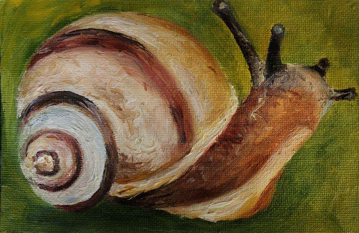 #art #oilpainting #miniature #nature #snail #insect #картинамаслом #миниматюра #насекомое #улитка #природа #масло