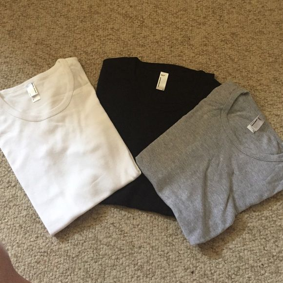 American Apparel TShirts Bundle of three American apparel TShirts. Brand new and never worn. Size small. Crew neck and cuffed sleeves. American Apparel Tops