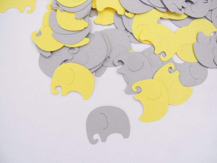 Baby Elephants Table Confetti | 200 pcs | Gray and Yellow Baby Shower Decoration
