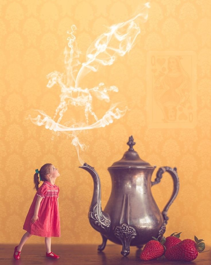 Alice in Wonderland. Mini photography. Composite photography. Vintage teapots. Strawberries. Smoke brushes.