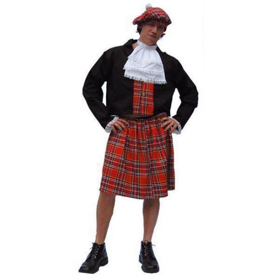 Schotse heren kilt  Schotse kilt kostuum heren. Dit Schotse kostuum bestaat uit de kilt het vestje de witte bef en de muts. Verkrijgbaar in verschillende maten. U kan dit schotse kostuum eindeloos zelf verder combineren met Schotse accessoires.  EUR 29.95  Meer informatie