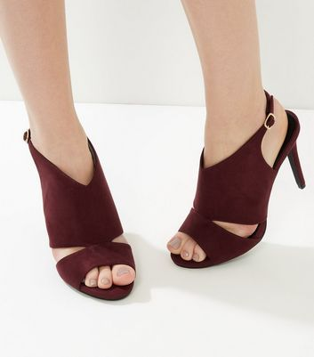 New Look Sale £11 Wide Fit Burgundy Suedette Cut Out Sling Back Heels