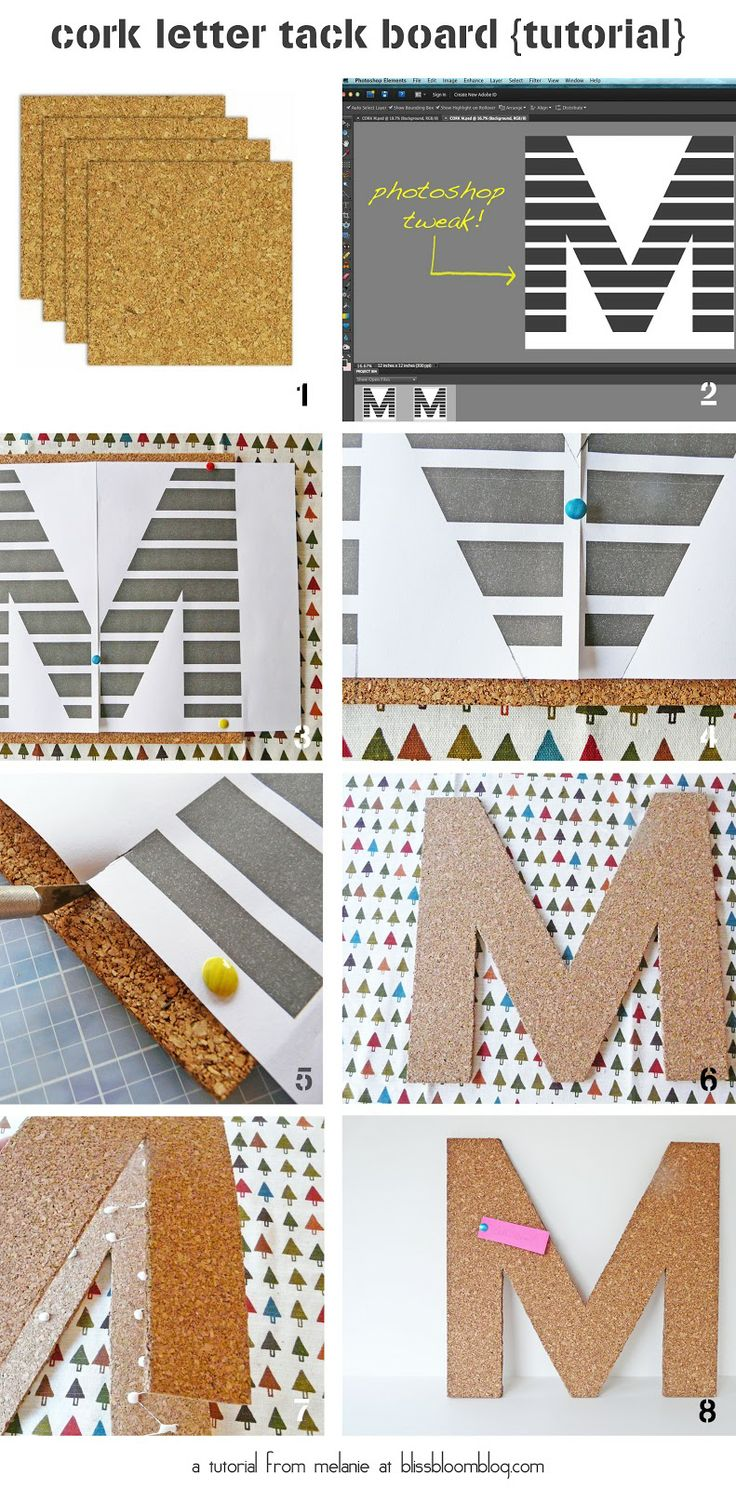 bliss bloom {blog} ~ a craft and lifestyle journal: [Make] Cork Letter Tack Board