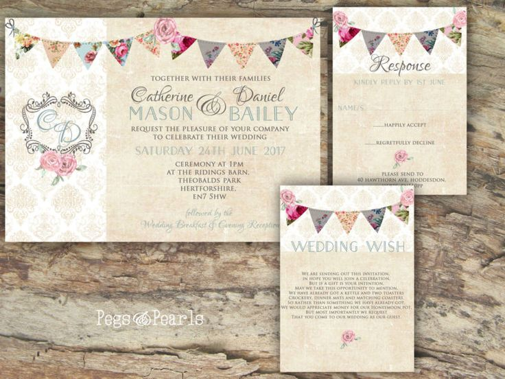 19 best bunting wedding invitations images on pinterest buntings personalised rustic floral bunting damask rose wedding invitations packs of 10 filmwisefo
